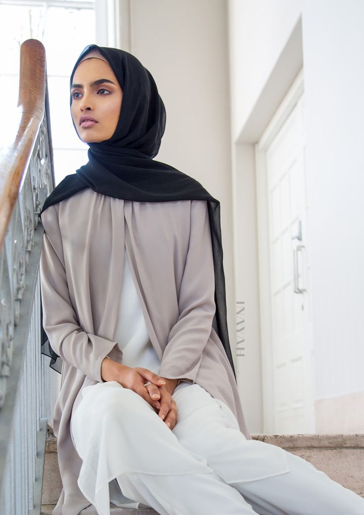 Layering, draping and wrapping. Suitability for for everyday coverage and loose modest fittings -Oyster Wrap Front #Coat + Cotton Midi Slip #Dress + White Tapered #Trousers + Black Maxi Georgette #Hijab - www.inayah.co