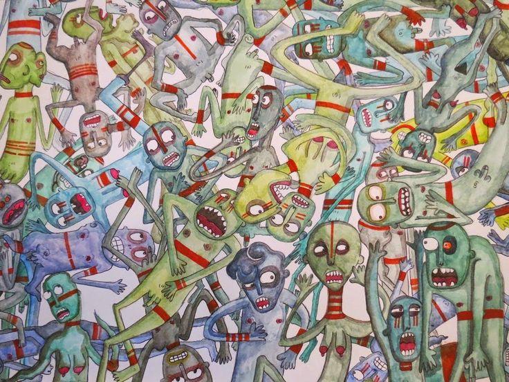 """""""Freaks"""" Illustrazione di Sabina Meschisi. Acquerelli su cartoncino bianco cm 50x70.  Watercolors on paper cm 50x70 #freaks #monsters #deformity #mostri #delirio #grottesco"""