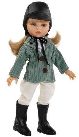Staande blanke pop Carla met blond haar, gekleed (amazone)  Materiaal: vinyl Lengte: 32 cm Bijzonderheden: geschikt voor kinderen vanaf 3 jaar   Verpakt in vensterdoos