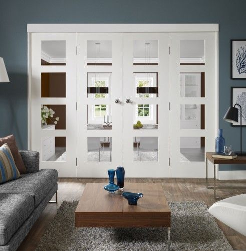 Wooden Doors, External Doors, Internal Doors, Internal Room Divider Sets | Internal White Freefold Sliding/Folding Door System