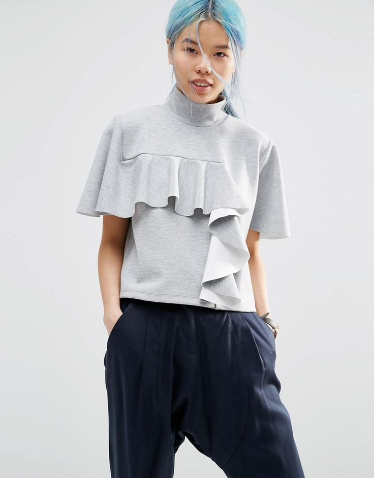 Image 1 ofASOS WHITE Funnel Neck Top With Frill Detail