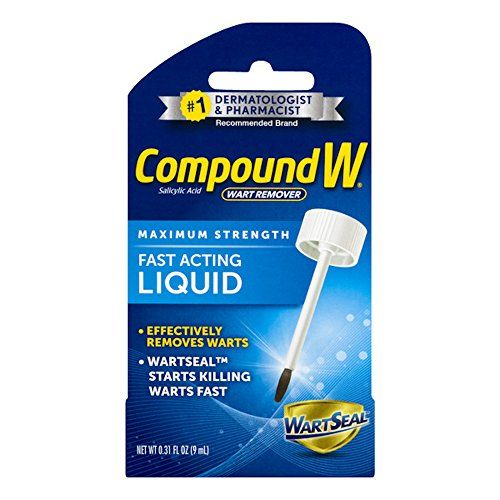Compound W Maximum Strength Wart Remover, Fast Acting Liquid,Effectively Removes Warts by Killing Warts FAST, 0.31 Fl Oz  Easily removes common and plantar warts  Convenient brush applicator  This product is manufactured in United States  Maximum strength http://www.wartalooza.com/general-information/types-causes-and-treatments-of-facial-warts