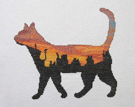 Cat cross stitch pattern printable cat silhouette counted