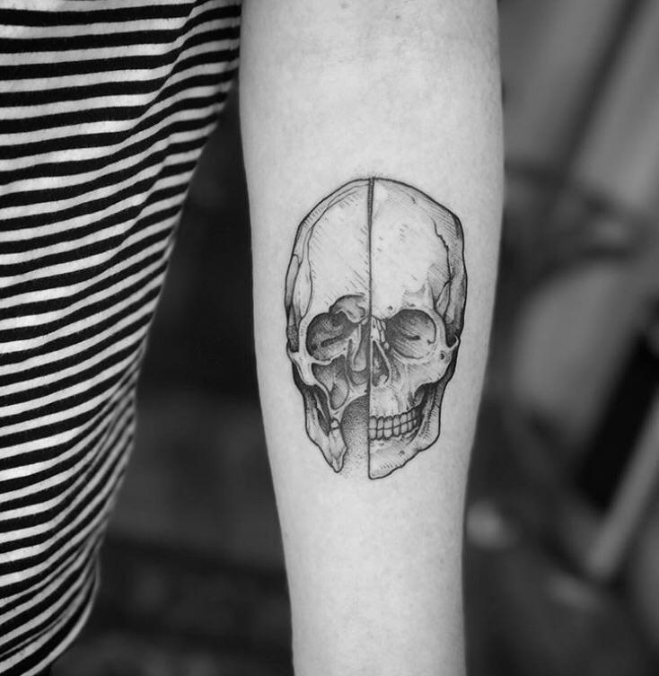 First tattoo - da Vinci skull - Tom @ blackdot tattoos Glasgow Scotland