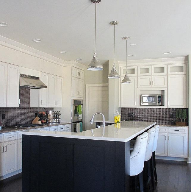 Off White Kitchen Cabinets With White Trim: Off-white Kitchen With Dark Stained Island. Kitchen With