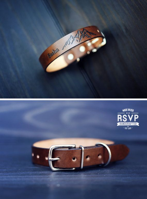 Personalized Leather Dog Collar, Custom Leather Dog Collar, Handmade personalized gift, Brown Stain, Mountains, adventures, FREE Name