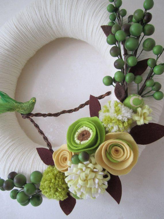 Yarn Wreath, felt.   Like the colors. Spring wreath  adapt for my burlap wreath