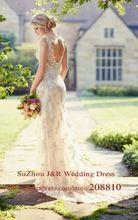 Alencon Champagne envoltura del cordón del vestido de boda con Semi transparente V volver destino vestido de novia Vestidos de Noiva(China (Mainland))