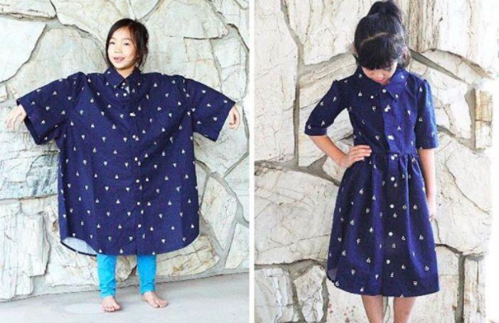 Deze moeder maakt te gekke outfits van oude kleding voor zichzelf én haar kinderen