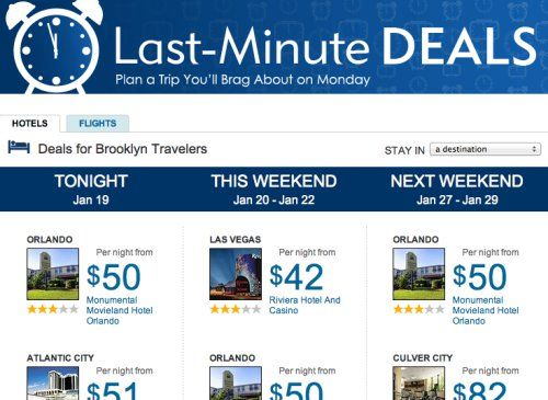 Expedia deals engine taps into user patterns for Last-Minute Deals