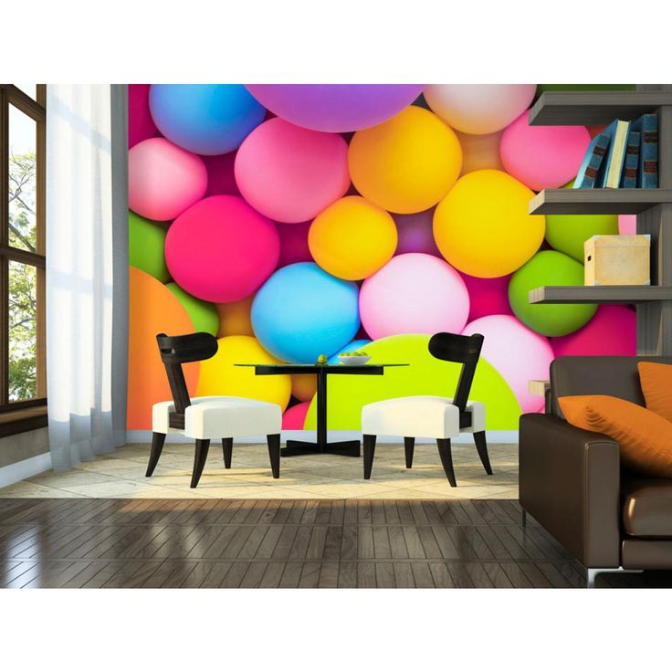 La carta da parati con colorate palline è tutto ciò di cui hanno bisogno le tue tristi pareti! :) #cartadaparati #cartedaparati #decorazionecolorata #persaladapranzo #percucina #percameretta #artgeist