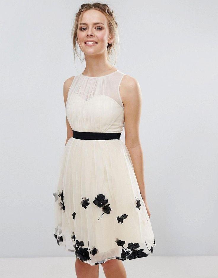 Little Mistress Petal Applique Mini Dress - Beige