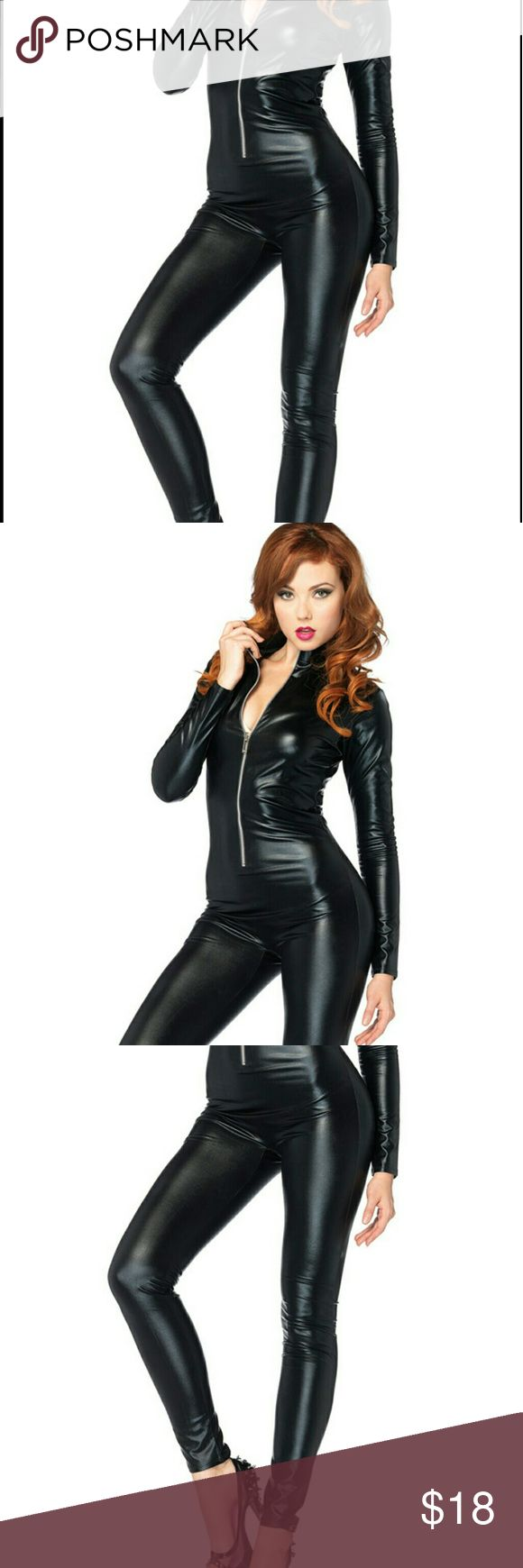 Leg Avenue Black Wet Look Bodysuit/catsuit The possibilities are endless with this black wet look body suit. The skin-tight fit gives this bodysuit seductive appeal and is a great staple for costumes. With a few simple added on accessories, you can turn this body suit into a cat costume or even be a police woman for the night. Zipper front, Brand without tags never worn. Size Medium (has lot stretch) Leg Avenue Intimates & Sleepwear