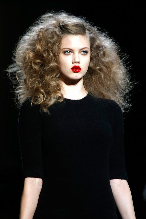 Gorgeous BIG wedding hair - great for a 70's disco style wedding.      Lindsey Wixson at Marc by Marc Jacobs, fall 2013