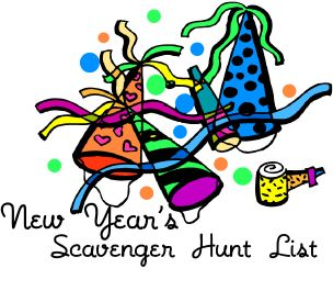 New Year's Scavenger Hunt List  Fun and FREE to print out!  20 Fun New Years themed items to find!   Great for New Year's Eve parties!  http://www.birthdaypartyideas4kids.com/new-years-eve-scavenger-hunt-list.htm