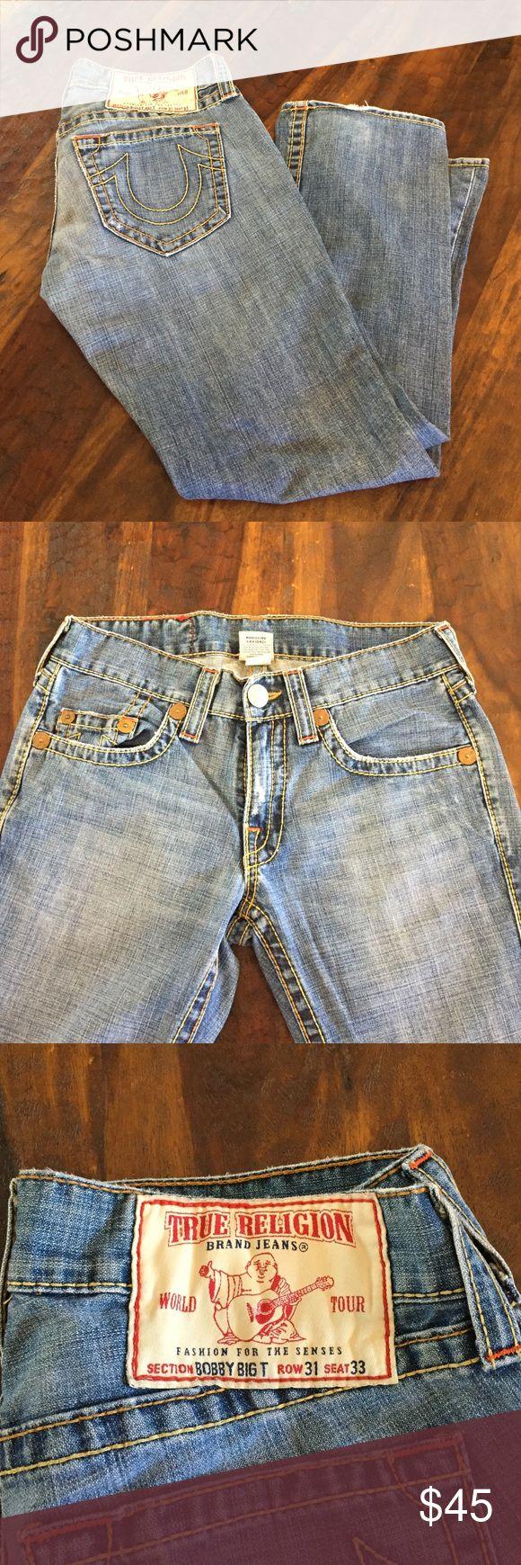 "True Religion Jeans Men's ""Bobby"" Big T sz 31 True Religion Jeans Men's ""Bobby"" Big T. Great condition. Some wear on bottom hem, refer to pictures. Inseam has been hemmed to 29"" True Religion Jeans Straight"