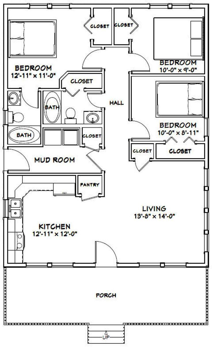 #28x36 #2Bath #3Bedroom #Download #Floor #House #Instant # ...
