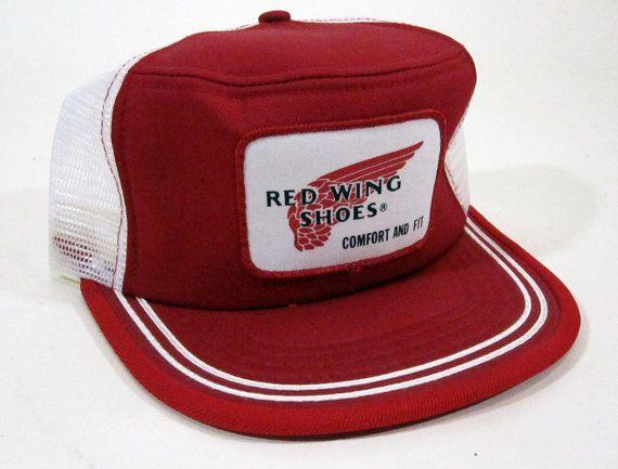Vintage Red Wing Shoes Mesh Snapback Trucker Hat 1970 s 31da2d075e3e