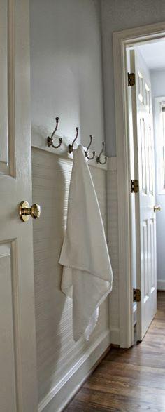 Our Fifth House: Fresh Paint, Beadboard Wallpaper & Towel Hooks - hanging beadboard wallpaper horizontally