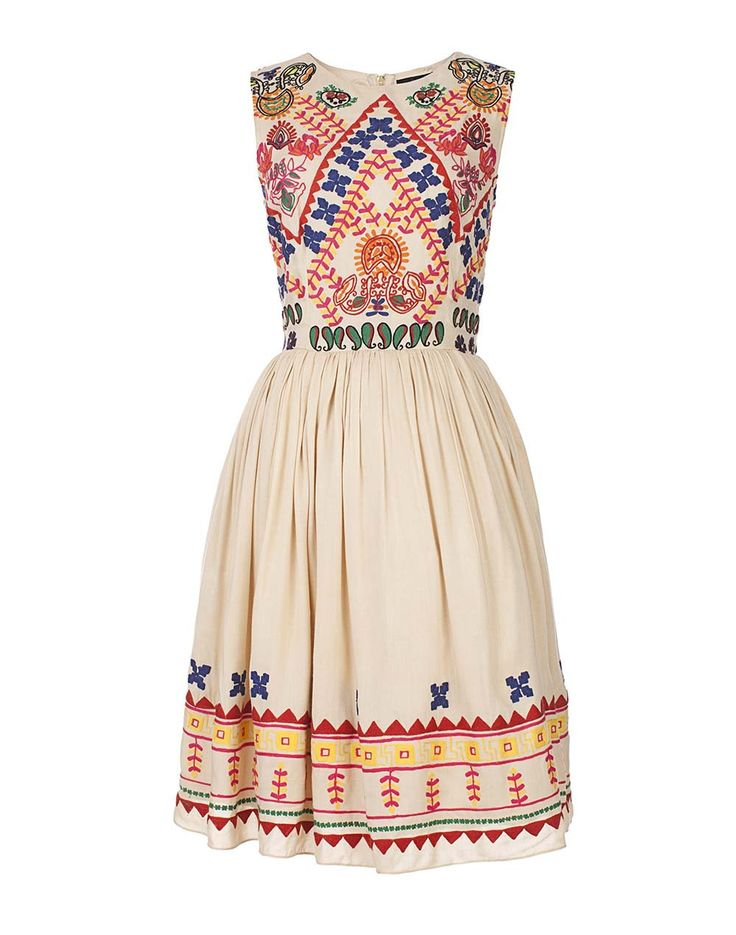 Hemant and Nandita's embroidered baby doll dress is flirty and fun. It is lined…