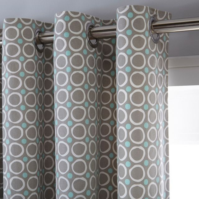 Grey print eyelet curtains