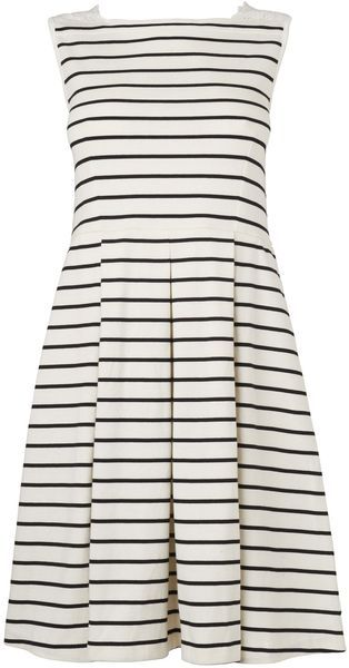 Boutique By Jaeger Black Broderie Stripe Cotton Jersey Dress