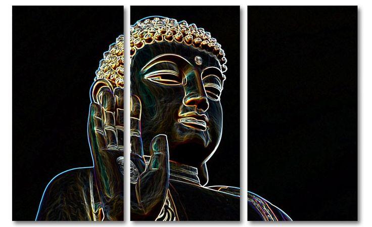 """Modern boeddha canvas schilderij """"Neon Buddha"""""""