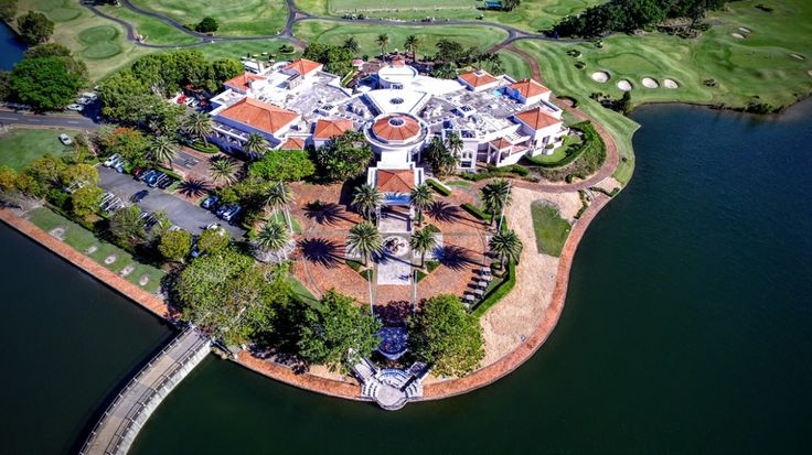 An unique, aerial view of wedding venue Links Hope Island on the Gold Coast taken by our team. We have filmed a number of weddings here.