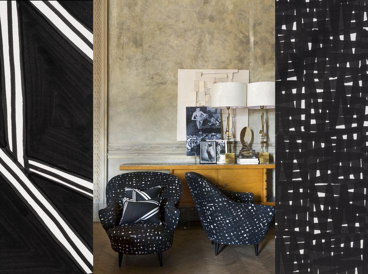 Flair, Florence. Poltrona design Rete nera e cuscini design Tria nero.  www.lds-fabrics.com