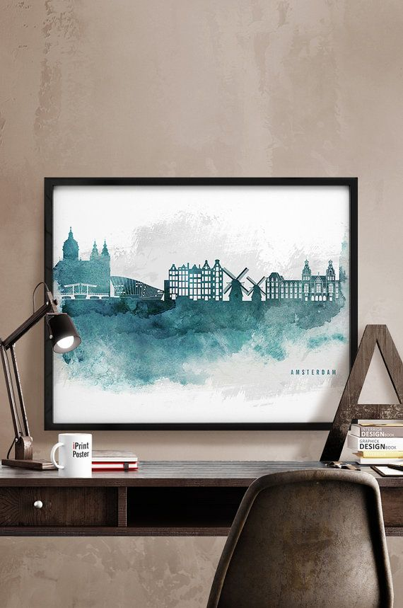Amsterdam print Amsterdam skyline art watercolor by iPrintPoster