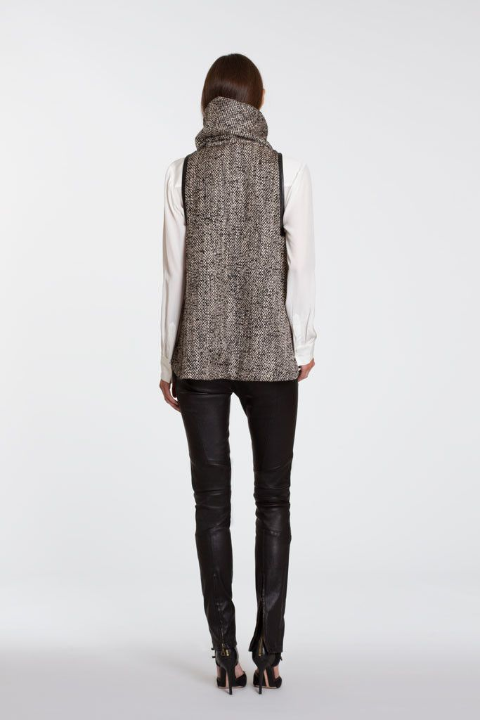 Vera Hanover Tweed Turtle-Neck Top With Black Leather Trim | MARISSA WEBB