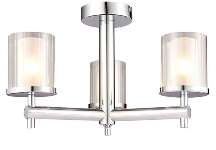 Endon 'Britton' IP44 3 Light Semi Flush Ceiling Light, Chrome Plate & Clear Glass - 51886 None