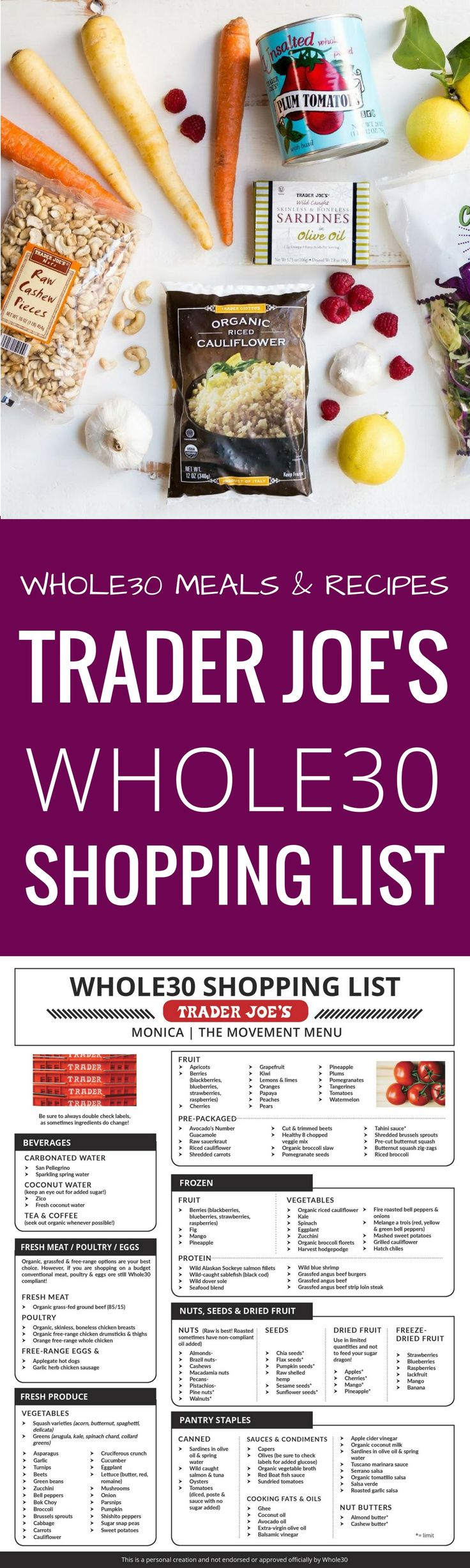 Best Trader Joe's Whole30 Shopping List. Complete with tips and tricks on how to prep for and succeed during your Whole30. Eat like a whole30 QUEEN! Free shopping list & shopping guide printout! Whole30 shopping list. Whole30 Trader Joe's shopping list. W