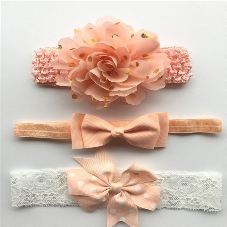 3Pcs/Set Baby Girls Nylon flower Headband lace flowers Hair Bows Elastic Hairban…