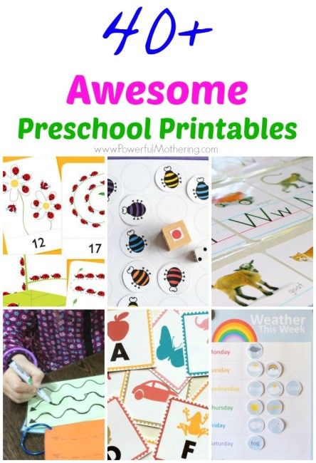40+ Awesome Preschool Printables from PowerfulMothering.com