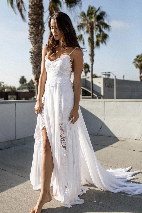 White Lace Chiffon A Line Spaghetti Strap Beach Wedding Dresses