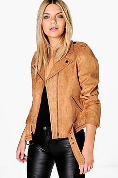 ¡Cómpralo ya!. Cazadora Biker De Imitación De Ante Niamh Boutique.  , chaquetadecuero, polipiel, biker, ante, antelina, chupa, decuero, leather, suede, suedette, fauxleather, chaquetadecuero, lederjacke, chaquetadecuero, vesteencuir, giaccaincuio, piel. Chaqueta de cuero  de mujer color marrón claro de Boohoo.