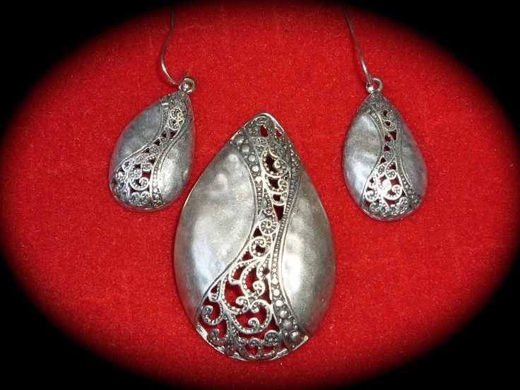 Premier Designs Jewelry Hidden Treasures Matte Silver Plate Pendant & Earrings #PremierDesignsHighFashionJewelry