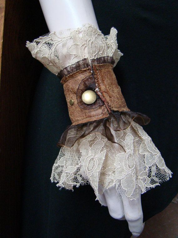 Steampunk wedding  pirate victorian lace by FayeTalitycouture, $25.00The cuffs have a button/elastic closure