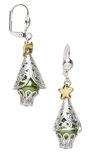Earrings with Silver-Plated Brass Cones and Bead Caps, Glass Pearl Beads and Antiqued Gold-Plated Pewter Beads