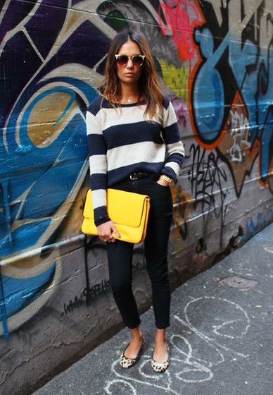 """I am loving the yellow statement clutch x strips x  leopard print = """" I just threw this on but I look totally fabulous!"""" xo"""