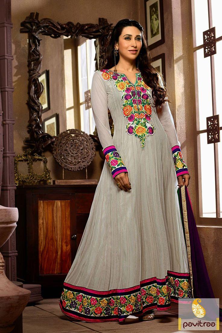 Pavitraa Grey and Green Floor Length Anarkali Salwar Suit Rs 2239.2 #karishmakapoor #salwarsuits #bollywoodcollection #onlinesalwarsuits
