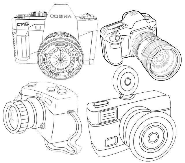 Types Of Camera Coloring Page Coloring Pages Types Of Cameras