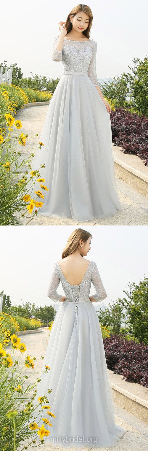 Lace Prom Dresses Long, 2018 Formal Dresses Cheap, A-line Party Dresses Backless, Scoop Neck Tulle Evening Dresses Appliques 3/4 Sleeve, Modest Pageant Dresses Silver