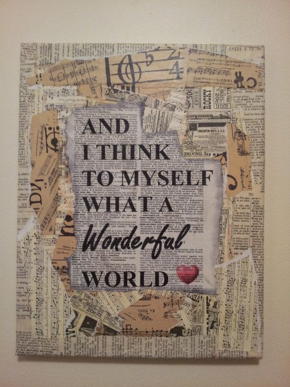 Mixed media canvas What a Wonderful World by CalicoCanvas on Etsy, $20.00
