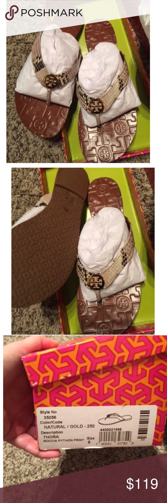 New in box Tory Burch Thora Python print sandals New in box Tory Burch Thora Python print sandals Tory Burch Shoes Sandals