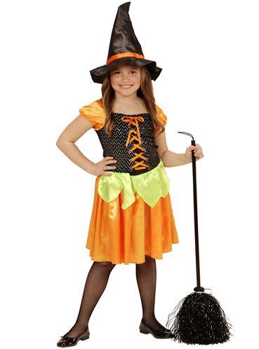 Kostium czarownia dynia z cekinami dla dziewczynki