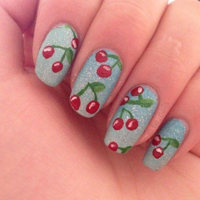 Cherries 🍒 finally Got some acrylicpaint! #aww #sweet #cute #cherry #cherries #batiste #inspired #notd #ilnpfeature #staypolished #gradient #nice #nails #nailart #nailporn #nofilter #naildesign #nailpolish #polish #handpaint #freehand