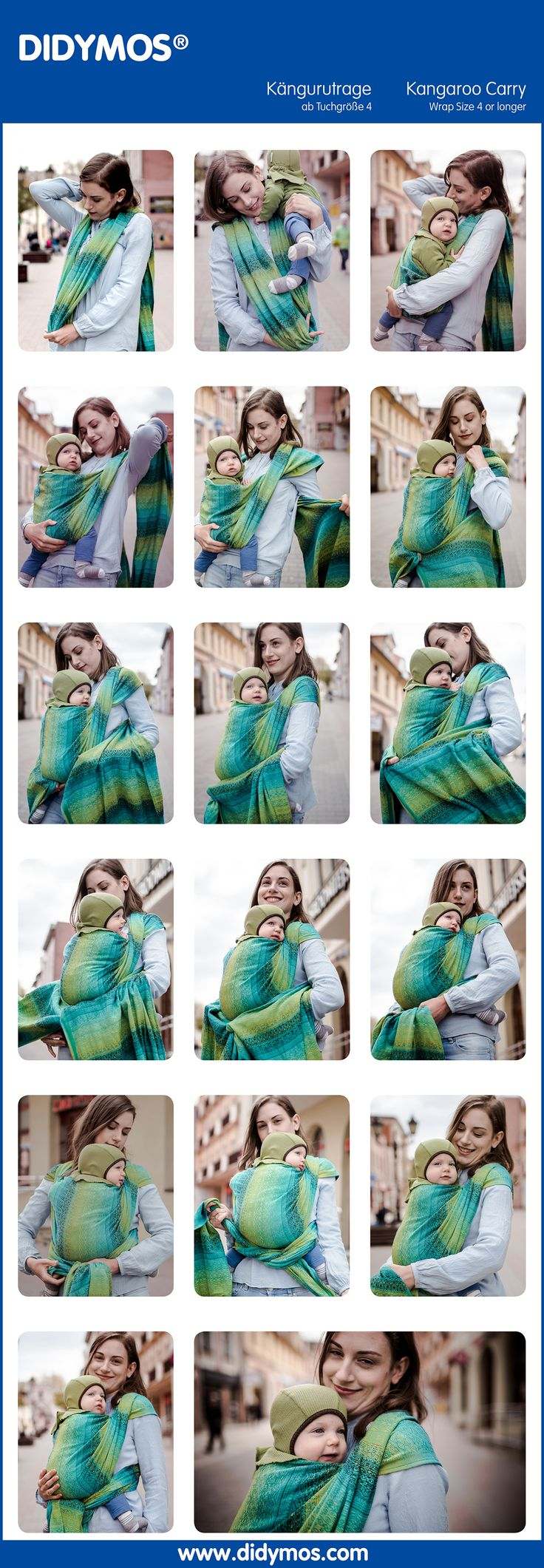 "DIDYMOS Kangaroo Carry with a Woven Wrap ""Ada Malachit"" - Kängurutrage  #TyingInstructions #diymos"