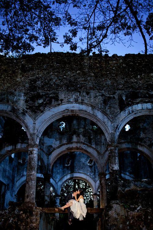 Authentic ruins set a stunning wedding backdrop, captured by Aaron Morris of Chrisman Studios